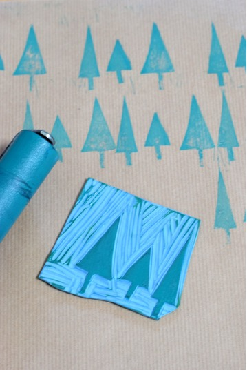Lino Printed Wrapping Paper